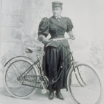 "image of Portrait of ""Mrs. C.D. Smith"" with Bicycle"